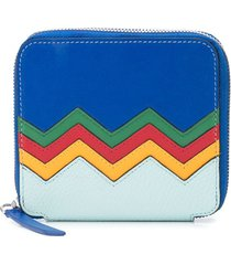 m missoni embroidered zigzag zipped wallet - blue
