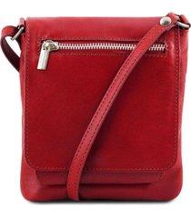 tuscany leather tl141510 sasha - borsello unisex in pelle morbida rosso