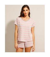 pijama manga curta listrado rosa