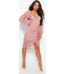 hoook and eye sheer volume sleeve midi dress, rose