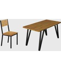 conjunto 6 cadeiras e tampo eucalipto preto fosco madmelos