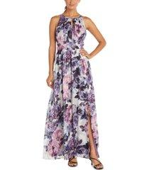 r & m richards petite floral-print gown