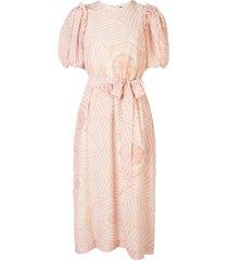 simone rocha tie waist bell sleeve dress - pink