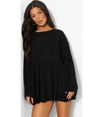 gesmokte strand jurk, black