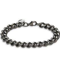 effy men's black rhodium-plated sterling silver curb chain bracelet