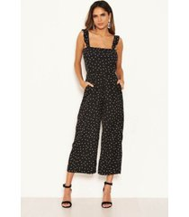 ax paris women's polka dot frill culotte jumpsuit