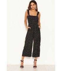 ax paris women's polka dot frill culotte jumpsuit