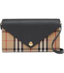 burberry vintage check detachable strap wallet - neutrals
