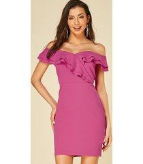 yoins rose ruffle trim off the shoulder dress