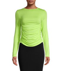 patrizia luca women's side-ruch knit top - green - size l