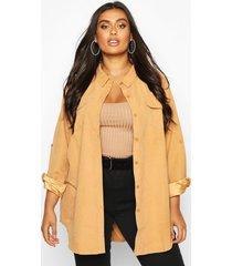 plus nep suède oversized blouse met zak detail, kameel