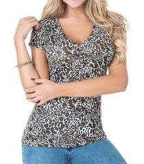 blusa vanidosa leopardo n  para mujer croydon