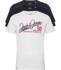 jjelogo tee ss o-neck 2 col ss21 3pk mp t-shirts short-sleeved multi/mönstrad jack & j s