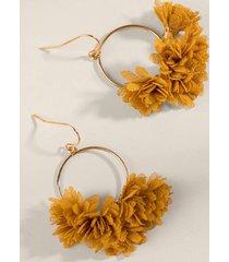 britney chiffon flowers drop earrings - mustard