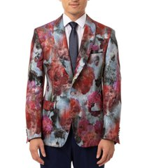 tallia orange men's slim-fit pink & blue metallic sport coat