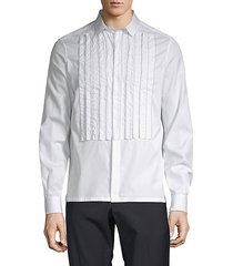 pleated cotton button-down shirt