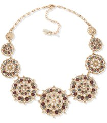 """lonna & lilly gold-tone crystal & bead filigree statement necklace, 16"""" + 3"""" extender"""