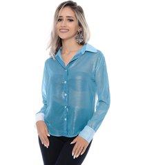 camisa chiffon b bonnie azul - azul - feminino - dafiti