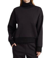 rag & bone women's modular zipper-trimmed turtleneck sweatshirt - black - size xxs