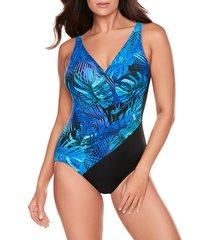 miraclesuit women's royal palm-print one-piece swimsuit - blue - size 18