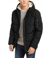 calvin klein men's short parka with sherpa hood, created for macy's