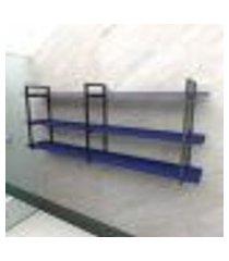 prateleira industrial banheiro aço cor preto 180x30x68cm (c)x(l)x(a) cor mdf azul modelo ind33azb