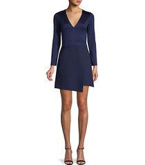 evette asymmetric long-sleeve flare dress