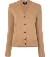 a.p.c. ama v-neck cardigan - brown