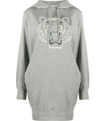 kenzo logo hoodie dress - grey