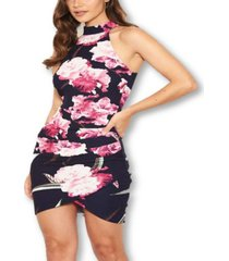 ax paris women's floral mini dress with rushed detail