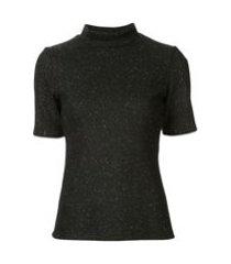 acler blusa hogan com brilho - preto