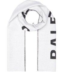jacquard logo wool scarf