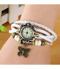 orologio da polso al quarzo vintage con pendente a farfalla con perline in pelle multistrato per gioielli etnici da donna