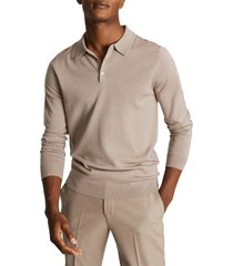 men's reiss trafford solid long sleeve wool men's polo shirt, size xx-large - beige