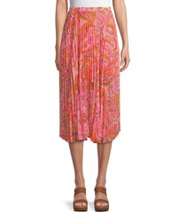 delfi collective women's lilah paisley pleated skirt - size l