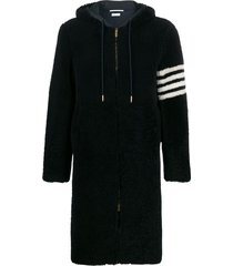 thom browne swim 4-bar parka - blue