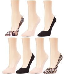 women's animal print solid liner socks 7 pack