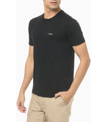 camiseta masculina slim minimalista flamê preta calvin klein - pp