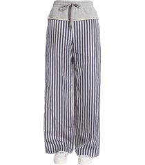 t by alexander wang striped wide leg trousers