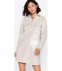 womens vinyl mini shirt dress with button-down closure - mushroom