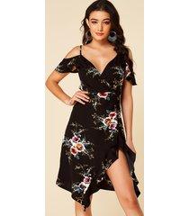 yoins black slit diseño floral print cold shoulder vestido