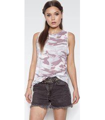 racer high neck tank - l pink camo