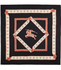 logo check border silk scarf