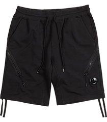 cp company diagonal fleece lens shorts | total eclipse | 177a-5160w 888