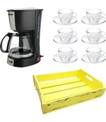 kit 1 cafeteira mallory 220v,1 jogo de 6 xícaras 90ml com pires e 1 bandeja mdf amarela