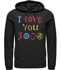 marvel men's avengers endgame iron man hand drawn i love you 3000, pullover hoodie