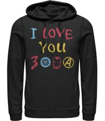 marvel men's avengers endgame iron man hand drawn i love you 3000, pullover hoodie