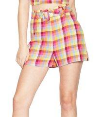 bcbgeneration belted plaid shorts