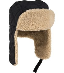 otto quilted polyester shell w/ shearling lining three panel trapper hat (color-