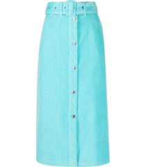 msgm belted corduroy skirt - blue